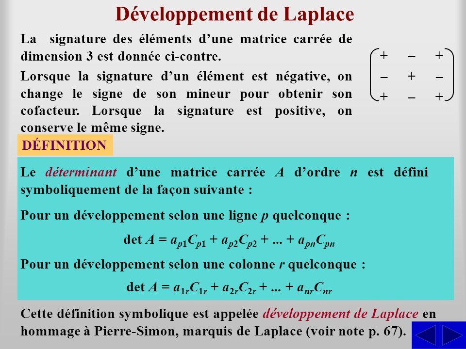 + – + – + – + – + Développement de Laplace La signature des éléments dune matrice carrée de dimension 3 est donnée ci-contre. DÉFINITION Le déterminan