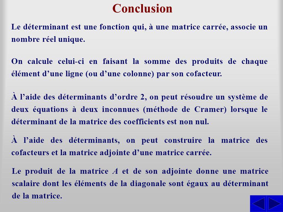 Conclusion Le déterminant est une fonction qui, à une matrice carrée, associe un nombre réel unique. On calcule celui-ci en faisant la somme des produ