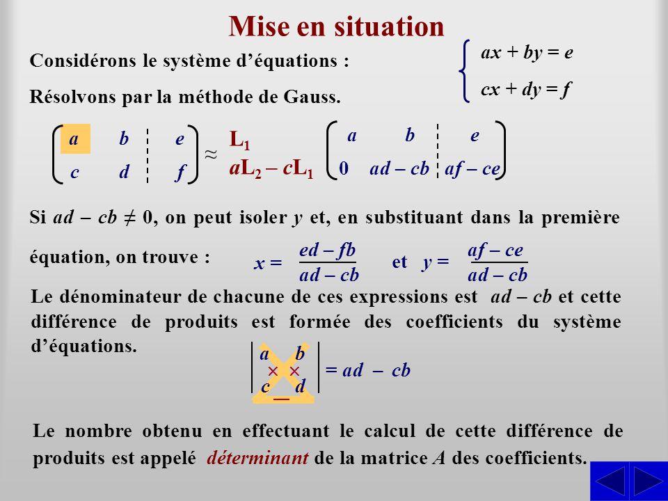 Mise en situation Considérons le système déquations : Résolvons par la méthode de Gauss. ax + by = e cx + dy = f abe cdf L1L1 ab e 0ad – cbaf – ce aL