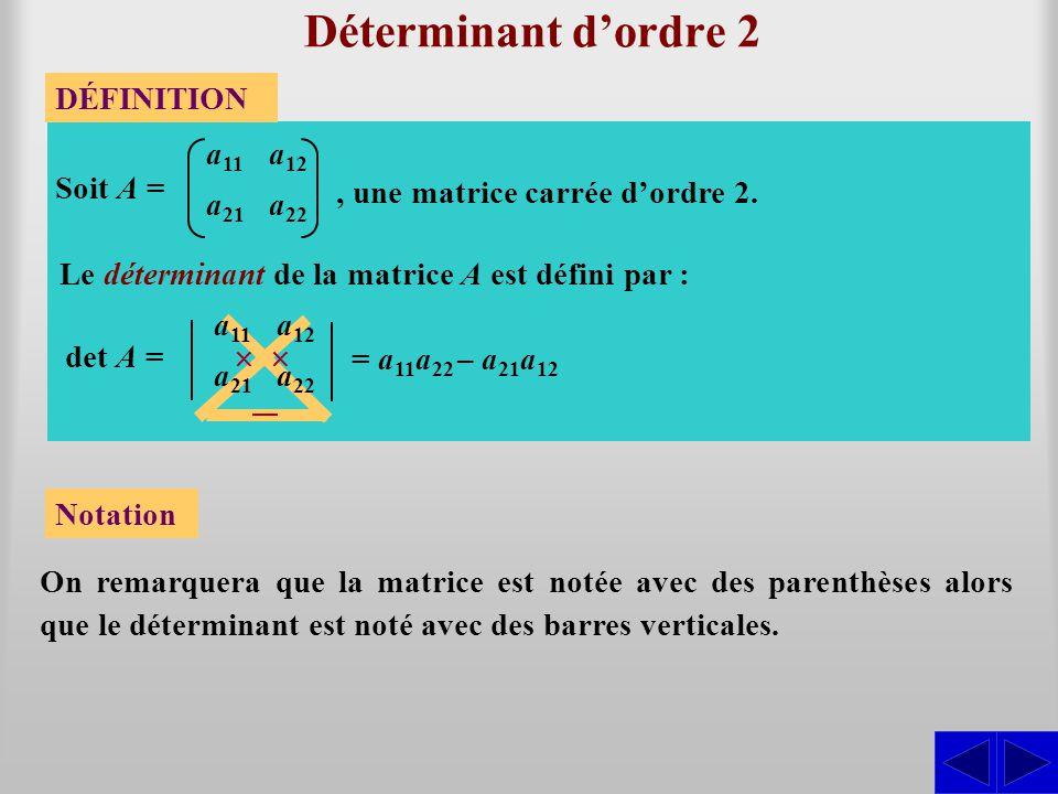 Déterminant dordre 2 On remarquera que la matrice est notée avec des parenthèses alors que le déterminant est noté avec des barres verticales. DÉFINIT