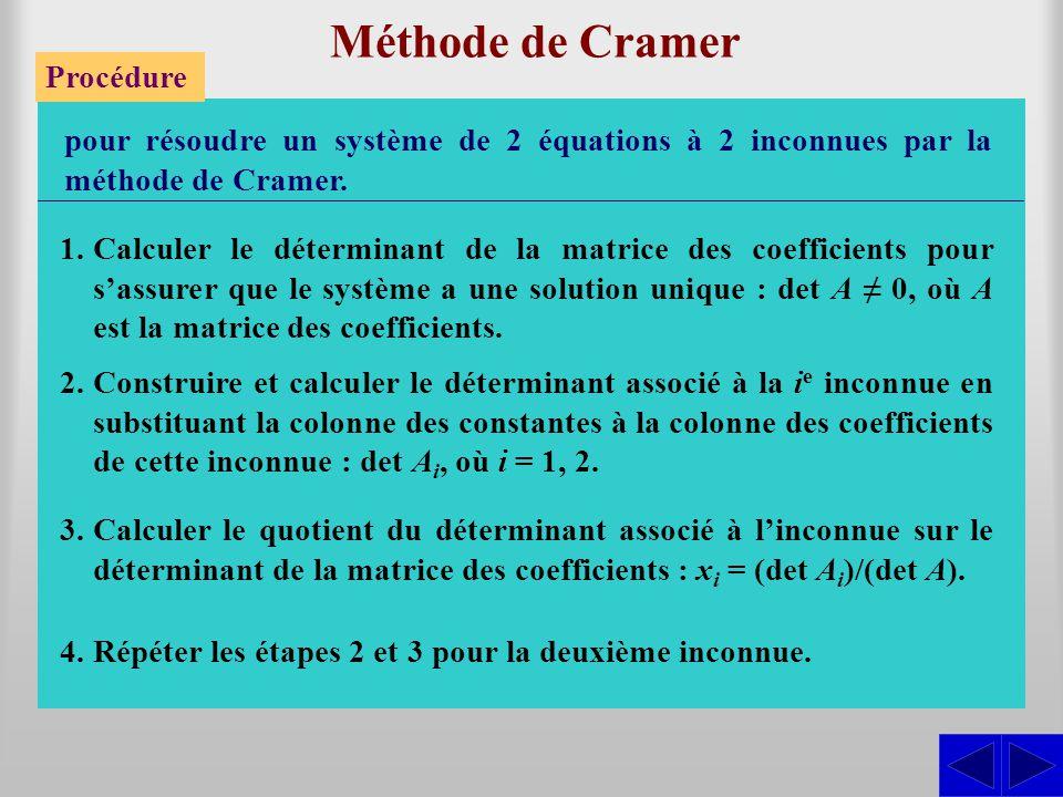 Méthode de Cramer Procédure pour résoudre un système de 2 équations à 2 inconnues par la méthode de Cramer. 1.Calculer le déterminant de la matrice de