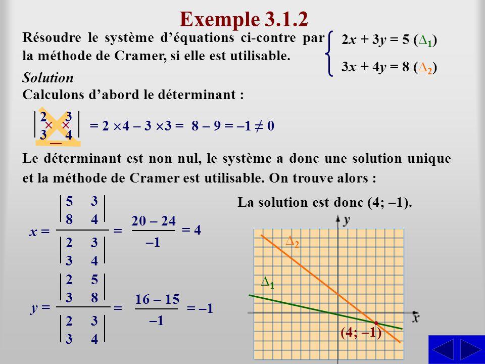 Le déterminant est non nul, le système a donc une solution unique et la méthode de Cramer est utilisable. On trouve alors : Exemple 3.1.2 Résoudre le