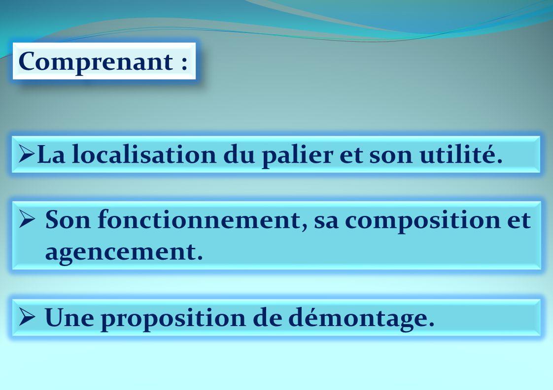 Comprenant : La localisation du palier et son utilité. Son fonctionnement, sa composition et agencement. Une proposition de démontage.