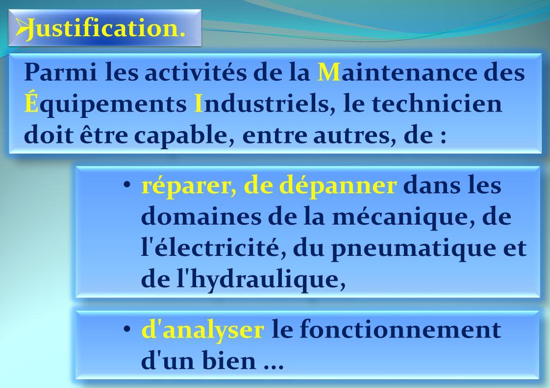 Parmi les activités de la Maintenance des Équipements Industriels, le technicien doit être capable, entre autres, de : réparer, de dépanner dans les d