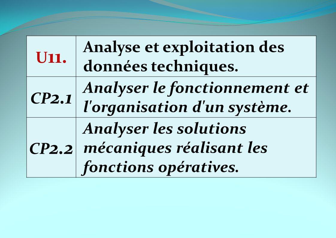 U 11. Analyse et exploitation des données techniques. CP 2.1 Analyser le fonctionnement et l'organisation d'un système. CP 2.2 Analyser les solutions
