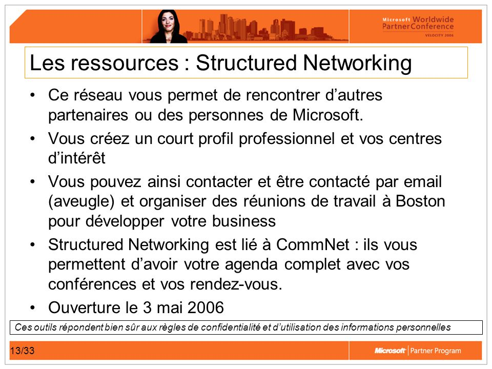 13/33 Les ressources : Structured Networking Ce réseau vous permet de rencontrer dautres partenaires ou des personnes de Microsoft. Vous créez un cour