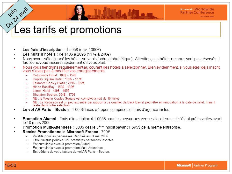 15/33 Les tarifs et promotions Les frais dinscription : 1 595$ (env.