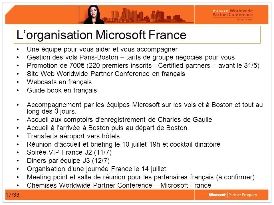 17/33 Lorganisation Microsoft France Une équipe pour vous aider et vous accompagner Gestion des vols Paris-Boston – tarifs de groupe négociés pour vou