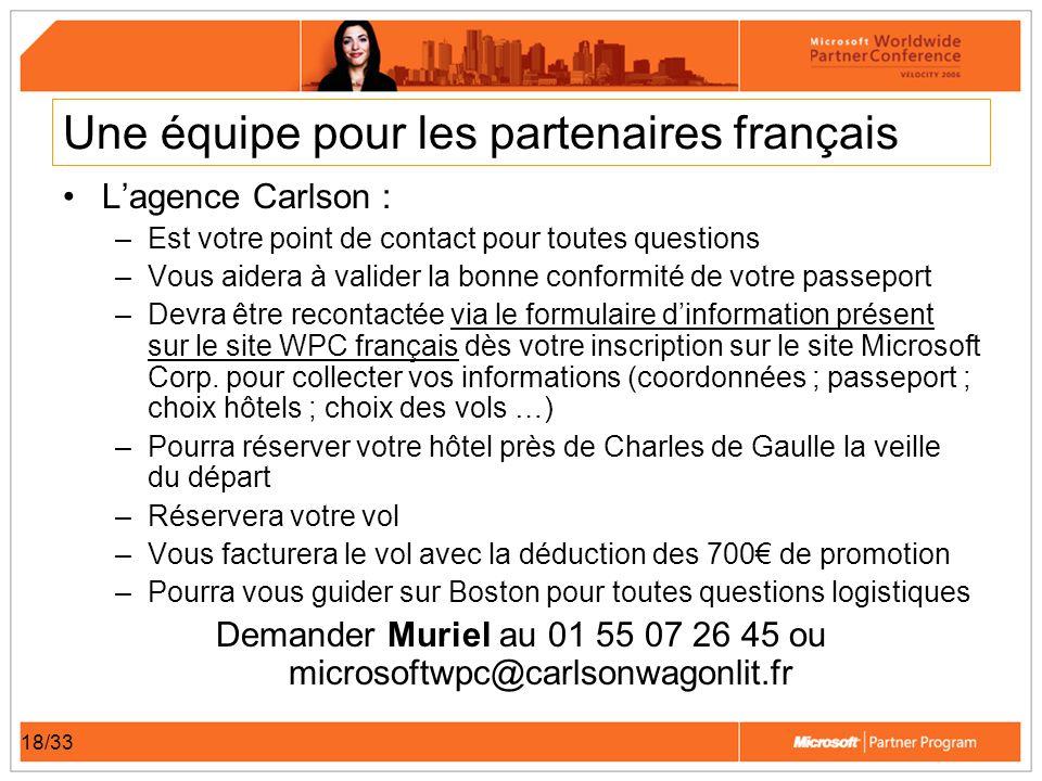 18/33 Une équipe pour les partenaires français Lagence Carlson : –Est votre point de contact pour toutes questions –Vous aidera à valider la bonne con