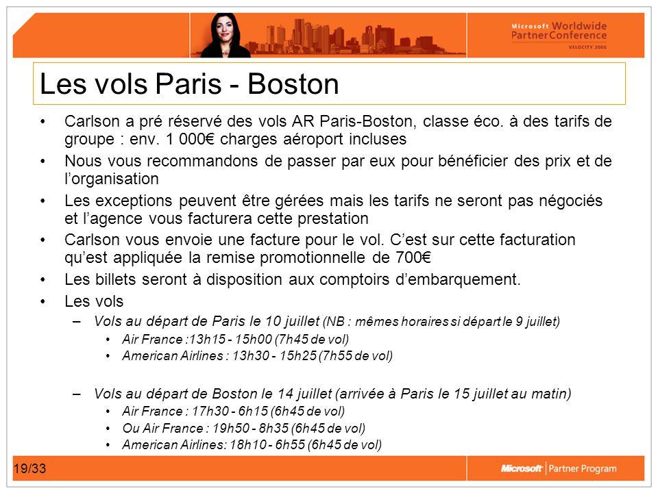 19/33 Les vols Paris - Boston Carlson a pré réservé des vols AR Paris-Boston, classe éco. à des tarifs de groupe : env. 1 000 charges aéroport incluse