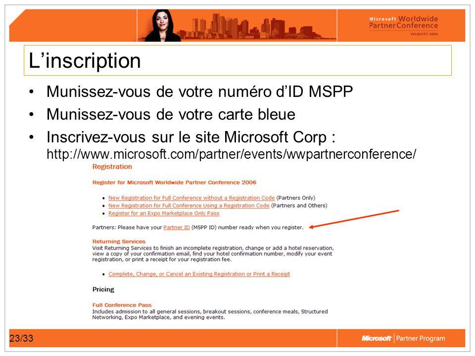 23/33 Linscription Munissez-vous de votre numéro dID MSPP Munissez-vous de votre carte bleue Inscrivez-vous sur le site Microsoft Corp : http://www.mi