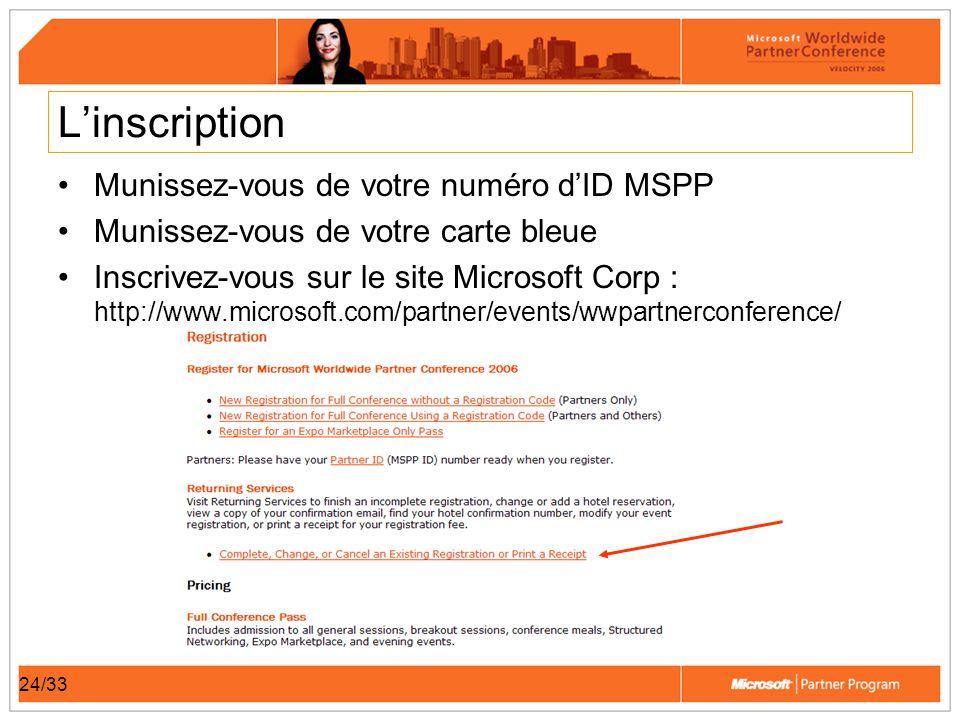24/33 Linscription Munissez-vous de votre numéro dID MSPP Munissez-vous de votre carte bleue Inscrivez-vous sur le site Microsoft Corp : http://www.microsoft.com/partner/events/wwpartnerconference/