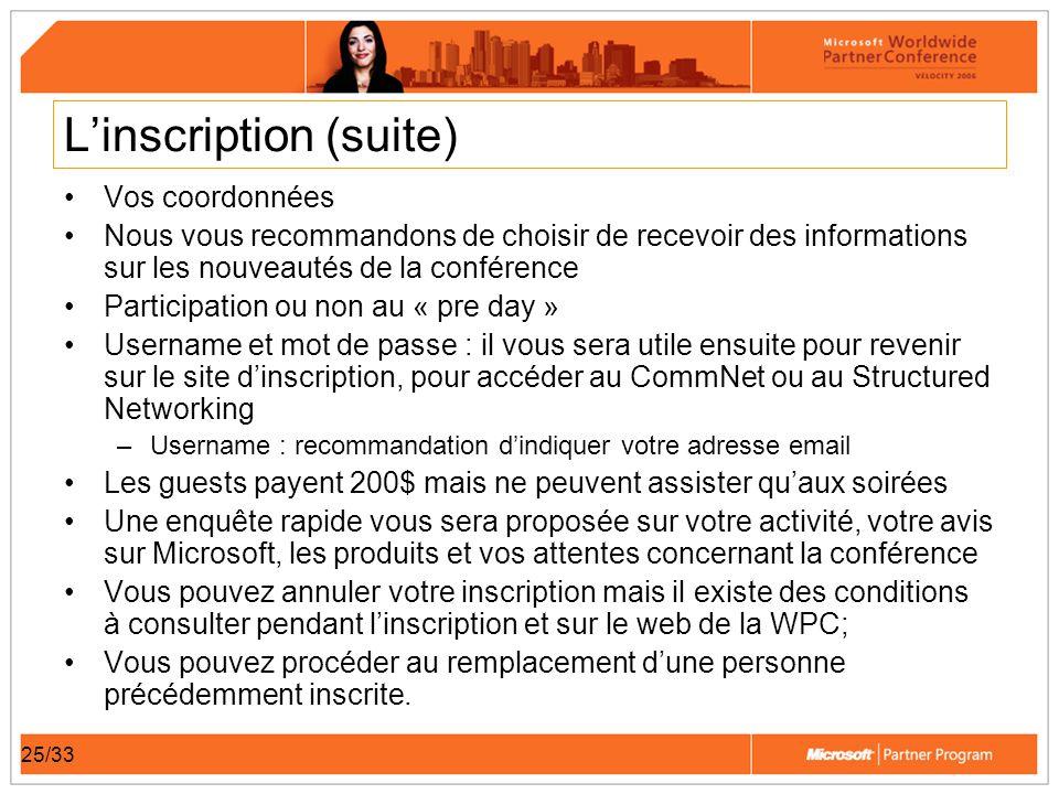 25/33 Linscription (suite) Vos coordonnées Nous vous recommandons de choisir de recevoir des informations sur les nouveautés de la conférence Particip