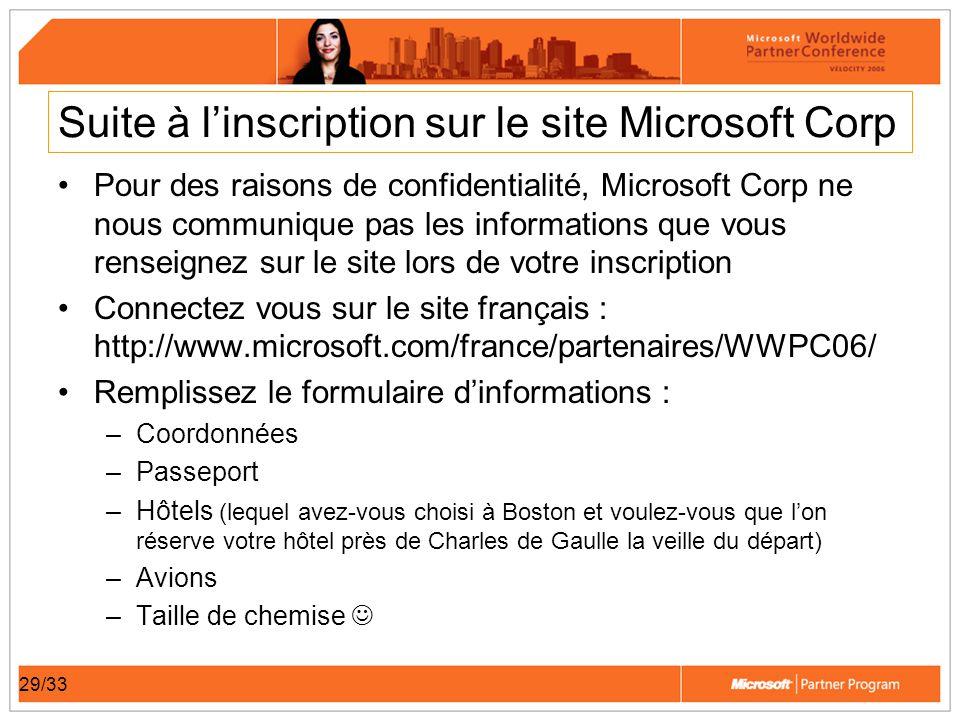 29/33 Suite à linscription sur le site Microsoft Corp Pour des raisons de confidentialité, Microsoft Corp ne nous communique pas les informations que vous renseignez sur le site lors de votre inscription Connectez vous sur le site français : http://www.microsoft.com/france/partenaires/WWPC06/ Remplissez le formulaire dinformations : –Coordonnées –Passeport –Hôtels (lequel avez-vous choisi à Boston et voulez-vous que lon réserve votre hôtel près de Charles de Gaulle la veille du départ) –Avions –Taille de chemise