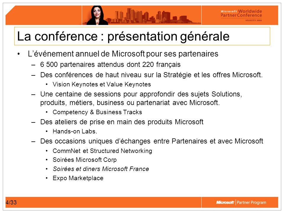 4/33 La conférence : présentation générale Lévénement annuel de Microsoft pour ses partenaires –6 500 partenaires attendus dont 220 français –Des conférences de haut niveau sur la Stratégie et les offres Microsoft.