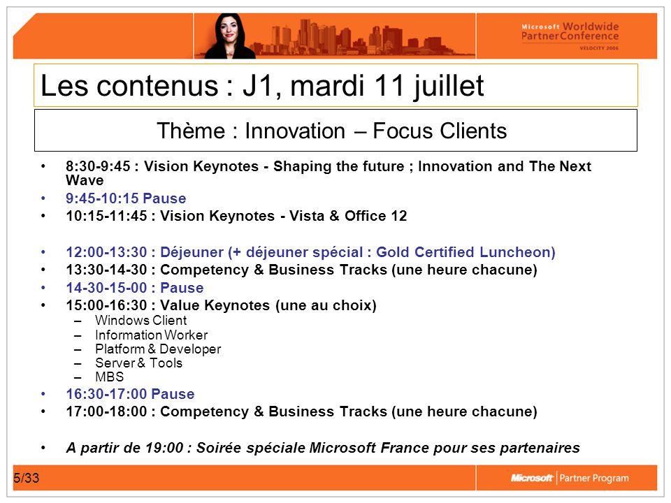6/33 Les contenus : J2, mercredi 12 juillet 8:30-9:15 : Vision Keynotes - Server & Tools 9:15-9:45 : Vision Keynotes - Platform 9:45-10:30 : Vision Keynotes - MBS 10:30-11:00 : Vision Keynotes - Security 11:00-11:30 Pause 11:30-13:00 : Value Keynotes (une au choix : identiques au J1) –Platform & Developer –Server & Tools –MBS –Windows Client –Information Worker 13:00-14:30 Déjeuner 14:30-18:30 : Competency & Business Tracks (une heure chacune) A partir de 20:30 : Microsoft Partner Program Awards Ceremony A partir de 20:30 : ISV party A partir de 21:00 Diners par équipe Partenaires / MS France Thème : Opportunité – Focus Partenaire