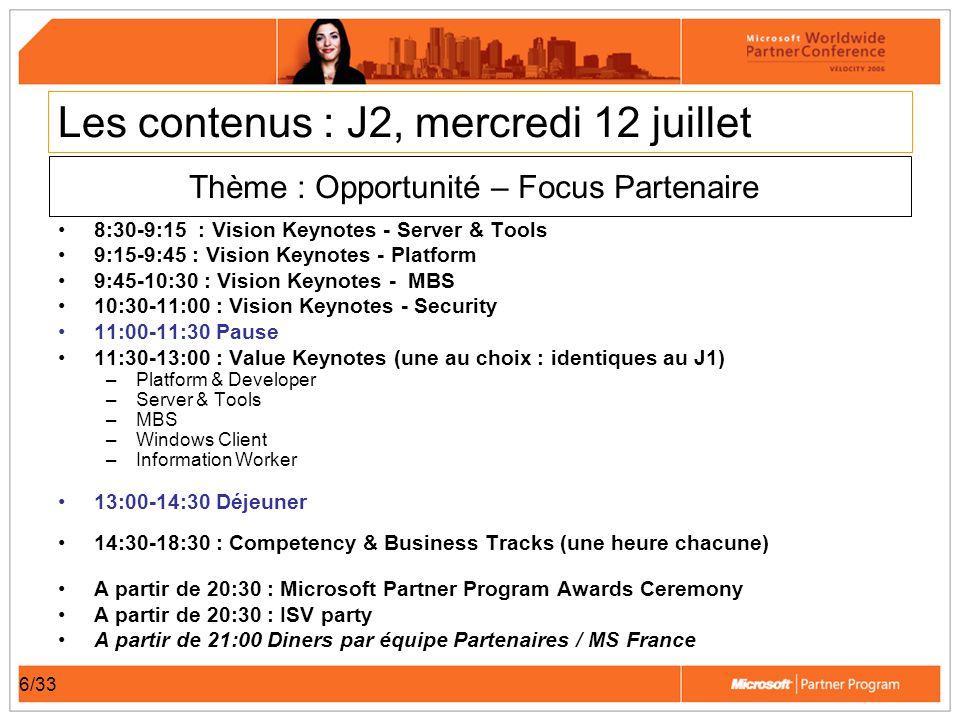 6/33 Les contenus : J2, mercredi 12 juillet 8:30-9:15 : Vision Keynotes - Server & Tools 9:15-9:45 : Vision Keynotes - Platform 9:45-10:30 : Vision Ke