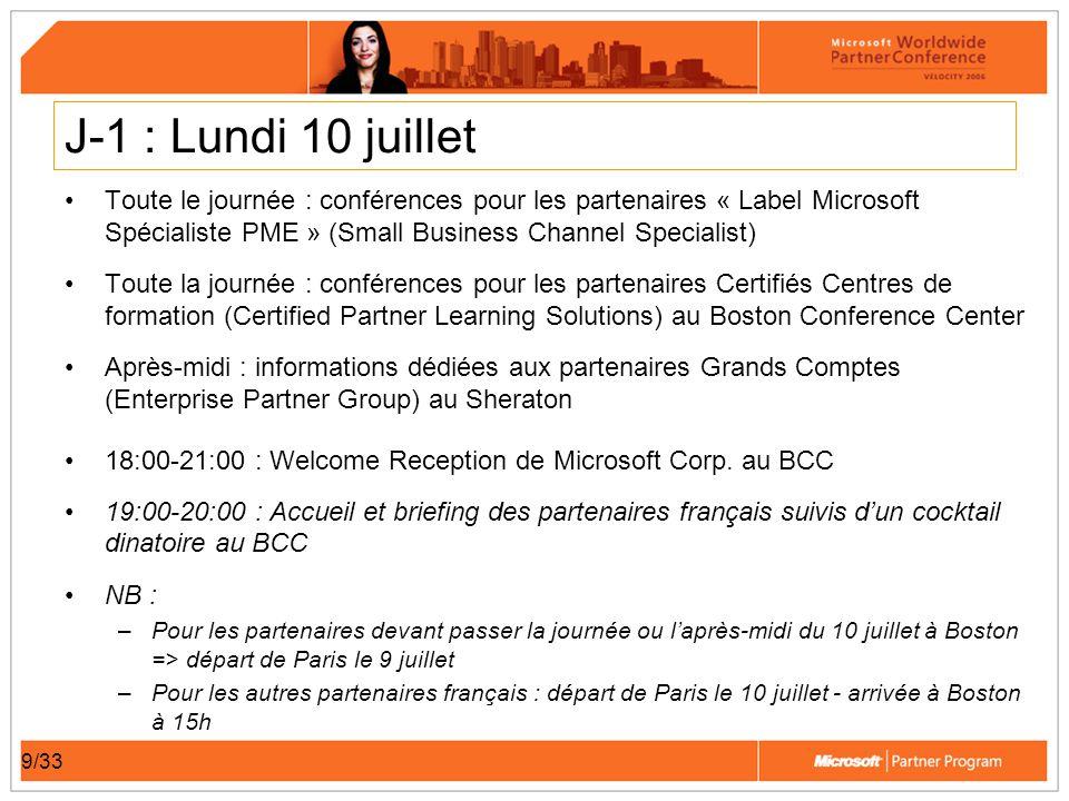10/33 Vendredi 14 juillet Réunion de debriefing des partenaires français et Microsoft France Déjeuner sur un site connu de Boston Après-midi de détente et « networking » Départ vers Paris en fin daprès-midi