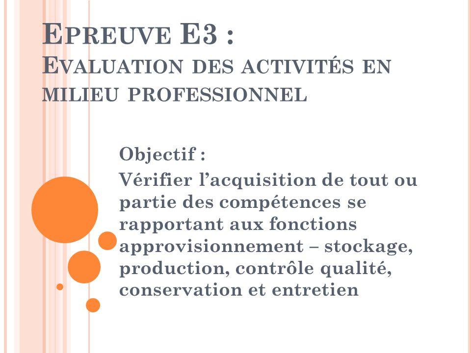 E PREUVE E3 : E VALUATION DES ACTIVITÉS EN MILIEU PROFESSIONNEL Objectif : Vérifier lacquisition de tout ou partie des compétences se rapportant aux f