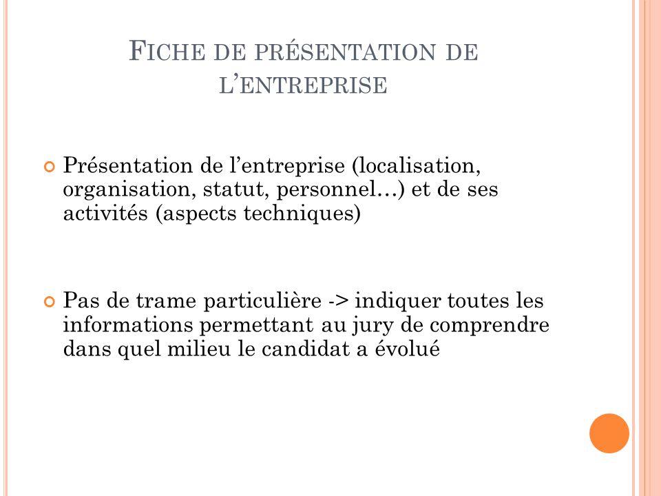F ICHE DE PRÉSENTATION DE L ENTREPRISE Présentation de lentreprise (localisation, organisation, statut, personnel…) et de ses activités (aspects techn