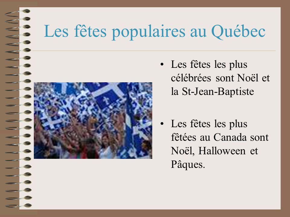 Les fêtes populaires au Québec Les fêtes les plus célébrées sont Noël et la St-Jean-Baptiste Les fêtes les plus fêtées au Canada sont Noël, Halloween