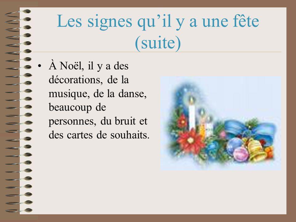 Les signes quil y a une fête (suite) À Noël, il y a des décorations, de la musique, de la danse, beaucoup de personnes, du bruit et des cartes de souhaits.