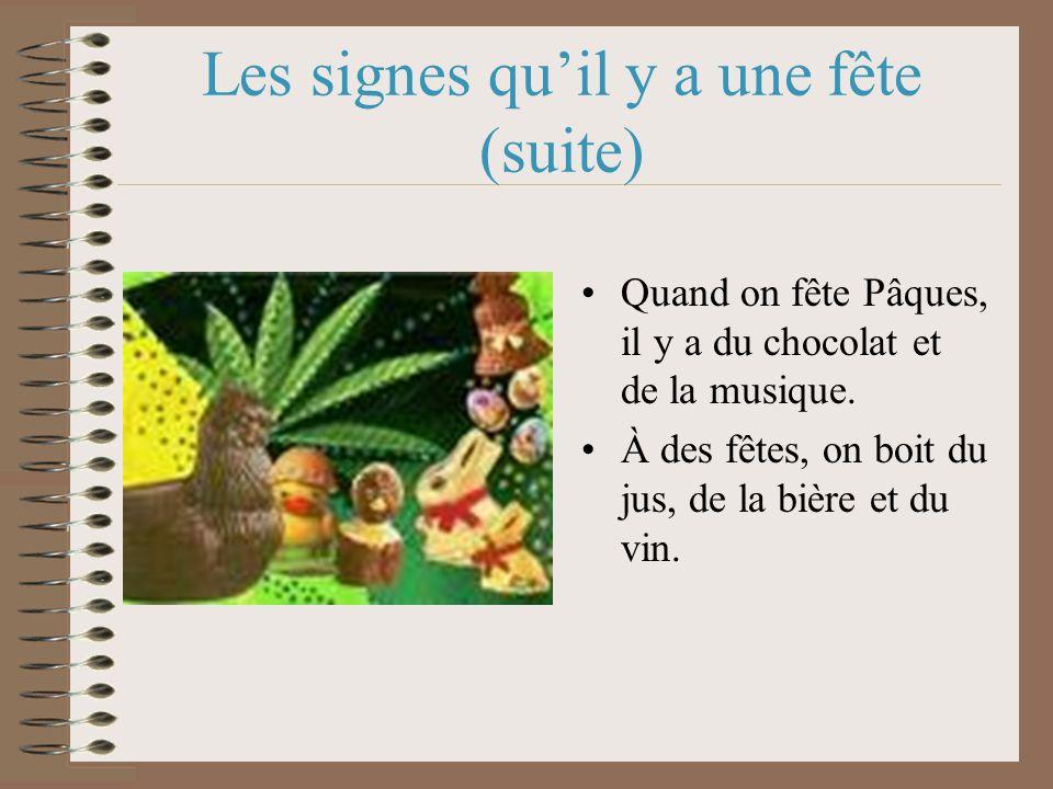 Les signes quil y a une fête (suite) Quand on fête Pâques, il y a du chocolat et de la musique.
