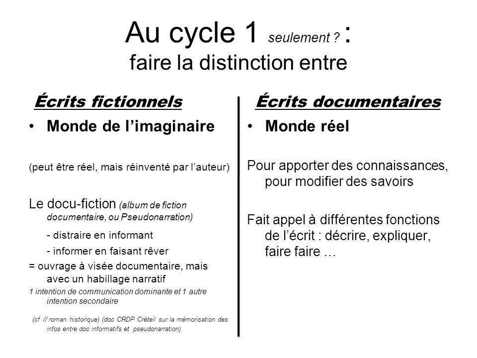 Au cycle 1 seulement ? : faire la distinction entre Écrits fictionnels Monde de limaginaire (peut être réel, mais réinventé par lauteur) Le docu-ficti