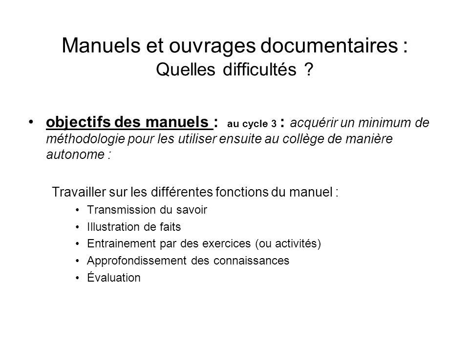 Manuels et ouvrages documentaires : Quelles difficultés ? objectifs des manuels : au cycle 3 : acquérir un minimum de méthodologie pour les utiliser e