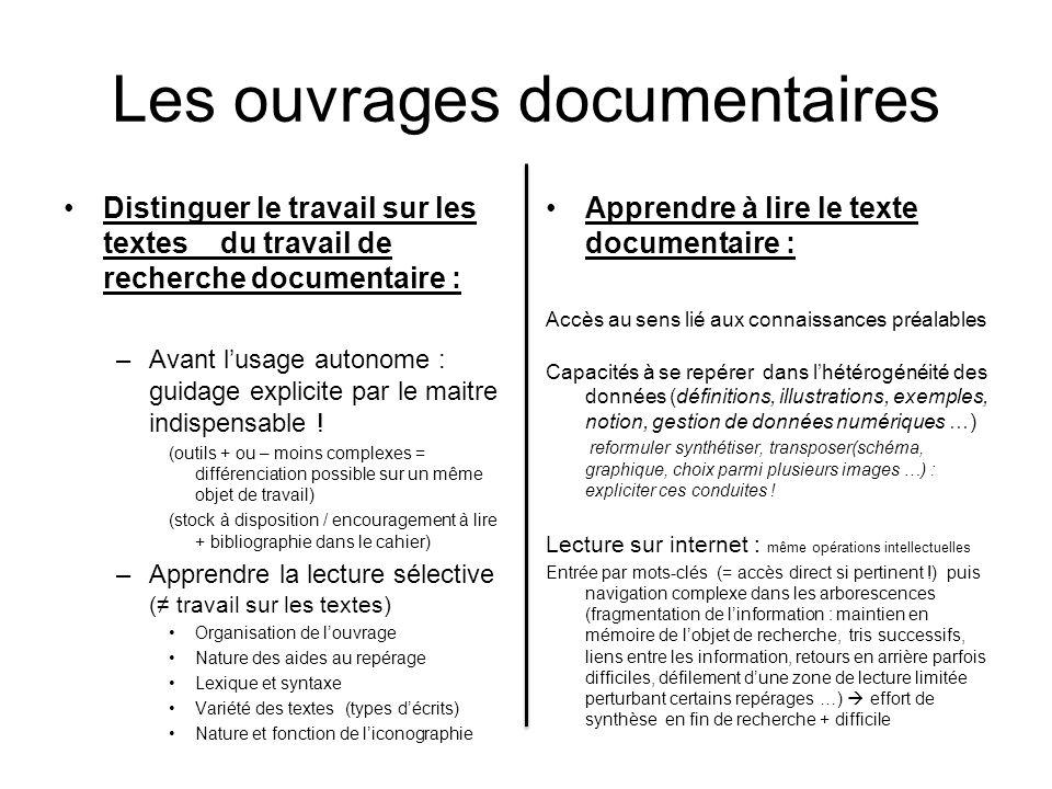 Les ouvrages documentaires Distinguer le travail sur les textes du travail de recherche documentaire : –Avant lusage autonome : guidage explicite par