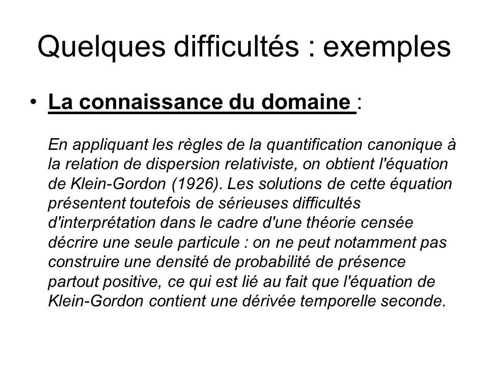 Quelques difficultés : exemples La connaissance du domaine : En appliquant les règles de la quantification canonique à la relation de dispersion relat