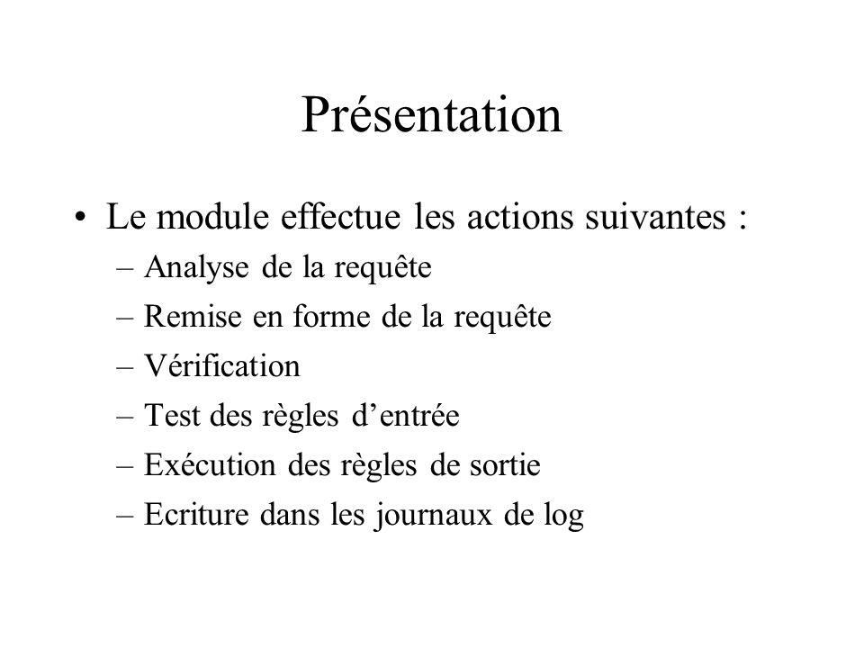 Présentation Le module effectue les actions suivantes : –Analyse de la requête –Remise en forme de la requête –Vérification –Test des règles dentrée –Exécution des règles de sortie –Ecriture dans les journaux de log