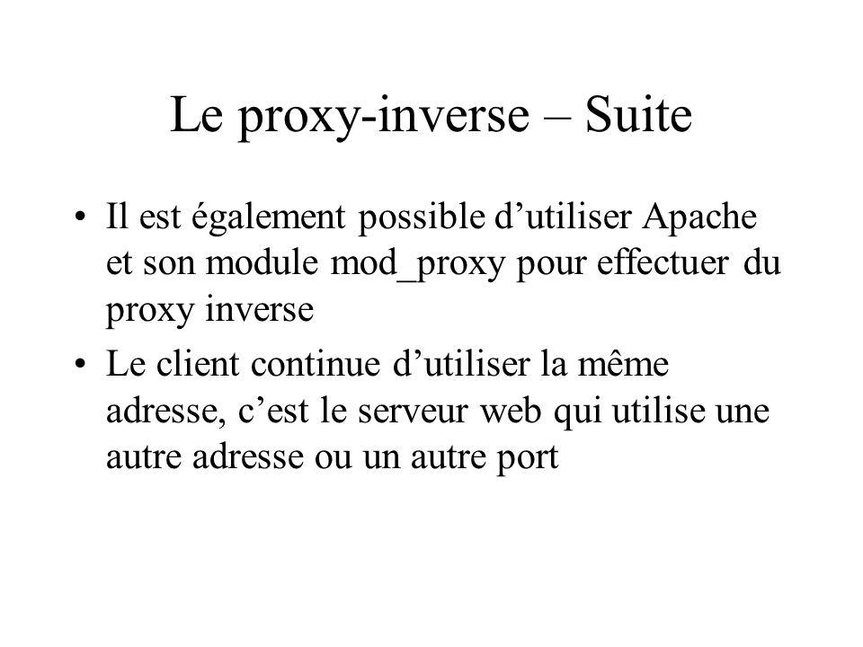 Configuration 1 On peut utiliser : Squid et le serveur Web sur la même machine http_port 80 # Port du proxy httpd_accel_host localhost # serveur web httpd_accel_port 81 # Port du serveur web httpd_accel_single_host on # envoi à un serveur web unique httpd_accel_with_proxy on # httpd_accel_uses_host_header off