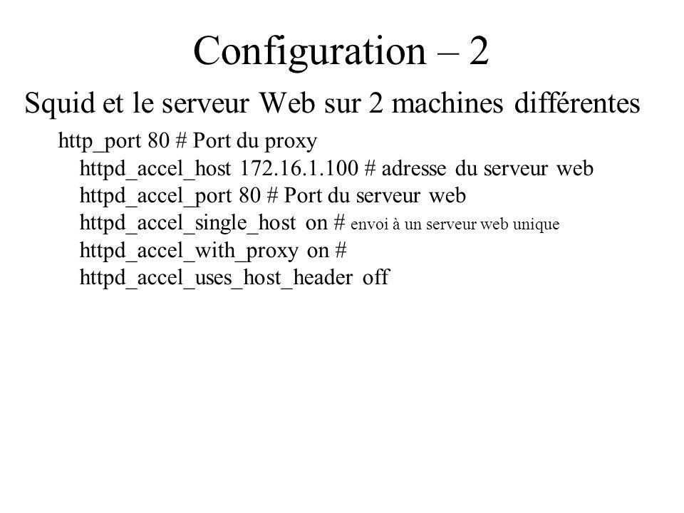 Configuration – 2 Squid et le serveur Web sur 2 machines différentes http_port 80 # Port du proxy httpd_accel_host 172.16.1.100 # adresse du serveur web httpd_accel_port 80 # Port du serveur web httpd_accel_single_host on # envoi à un serveur web unique httpd_accel_with_proxy on # httpd_accel_uses_host_header off