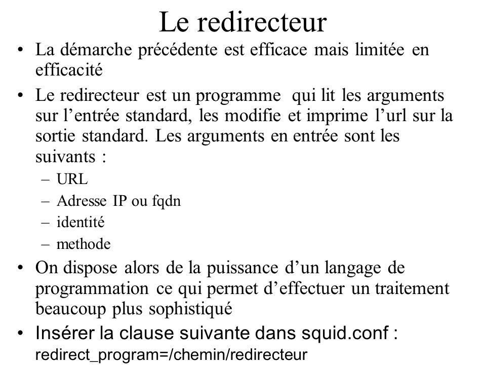 Le redirecteur La démarche précédente est efficace mais limitée en efficacité Le redirecteur est un programme qui lit les arguments sur lentrée standard, les modifie et imprime lurl sur la sortie standard.