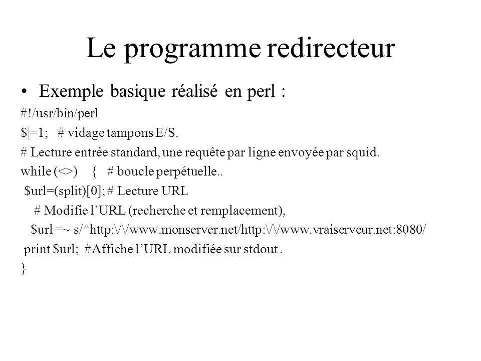 Le programme redirecteur Exemple basique réalisé en perl : #!/usr/bin/perl $|=1; # vidage tampons E/S.