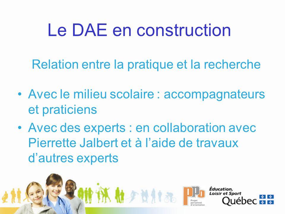 Le DAE en construction Relation entre la pratique et la recherche Avec le milieu scolaire : accompagnateurs et praticiens Avec des experts : en collab