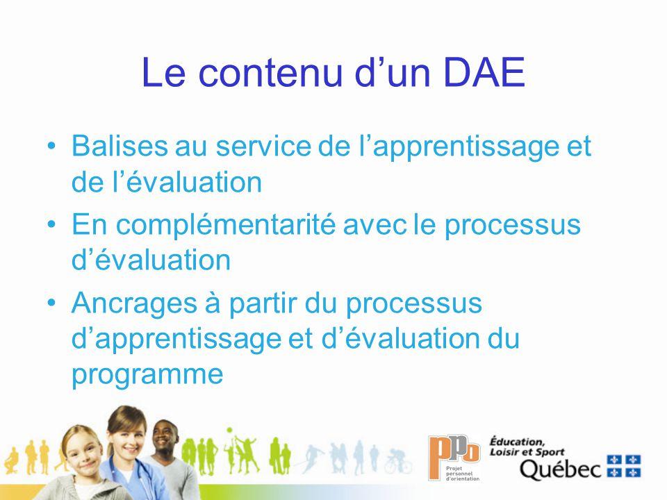 Le contenu dun DAE Balises au service de lapprentissage et de lévaluation En complémentarité avec le processus dévaluation Ancrages à partir du processus dapprentissage et dévaluation du programme