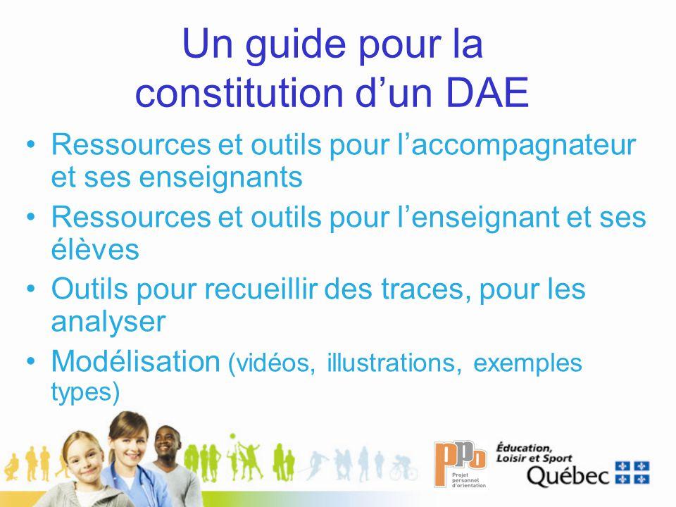 Un guide pour la constitution dun DAE Ressources et outils pour laccompagnateur et ses enseignants Ressources et outils pour lenseignant et ses élèves Outils pour recueillir des traces, pour les analyser Modélisation (vidéos, illustrations, exemples types)