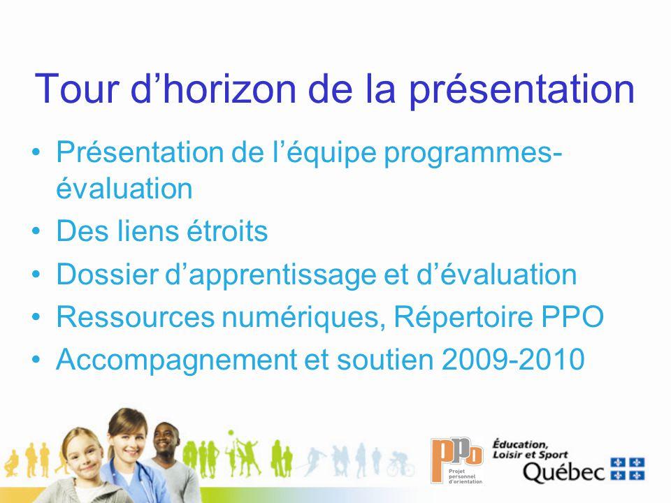 Tour dhorizon de la présentation Présentation de léquipe programmes- évaluation Des liens étroits Dossier dapprentissage et dévaluation Ressources numériques, Répertoire PPO Accompagnement et soutien 2009-2010