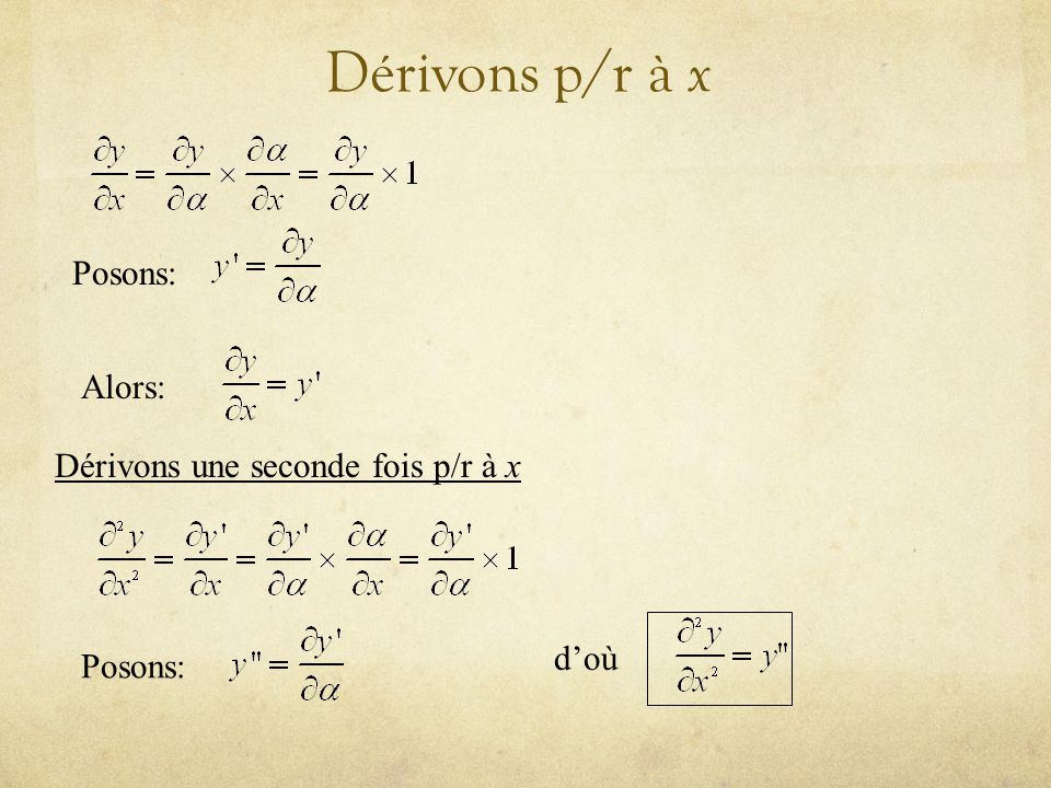 Dérivons p/r à x Posons: Alors: Dérivons une seconde fois p/r à x Posons: doù