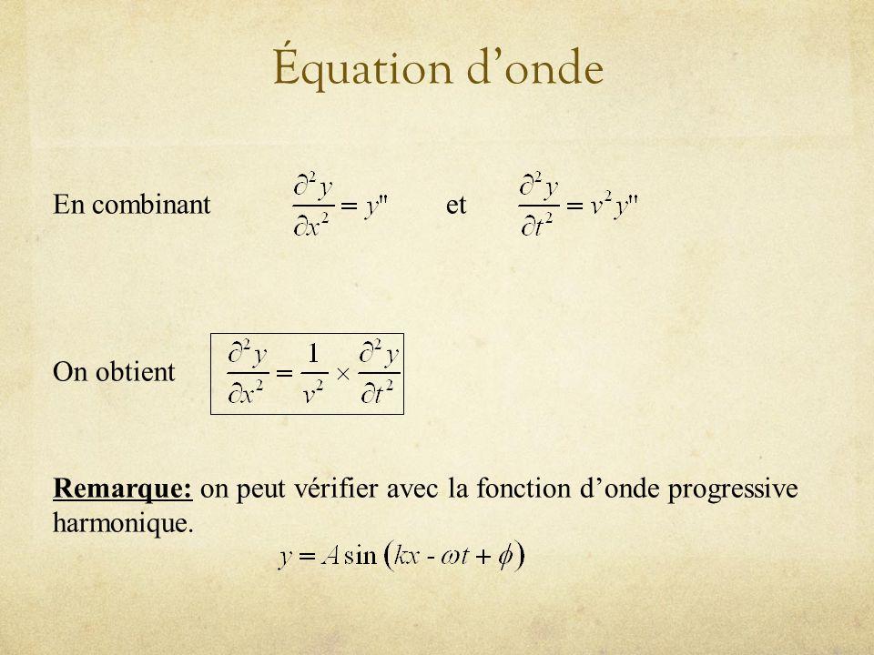 Équation donde En combinantet On obtient Remarque: on peut vérifier avec la fonction donde progressive harmonique.