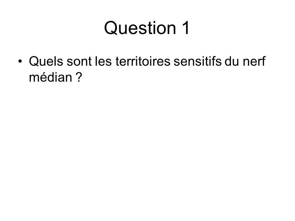 Question 1 Quels sont les territoires sensitifs du nerf médian ?