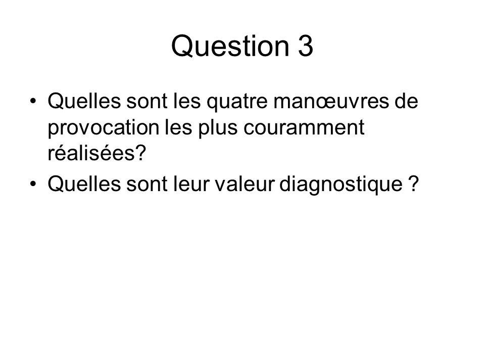 Question 3 Quelles sont les quatre manœuvres de provocation les plus couramment réalisées.