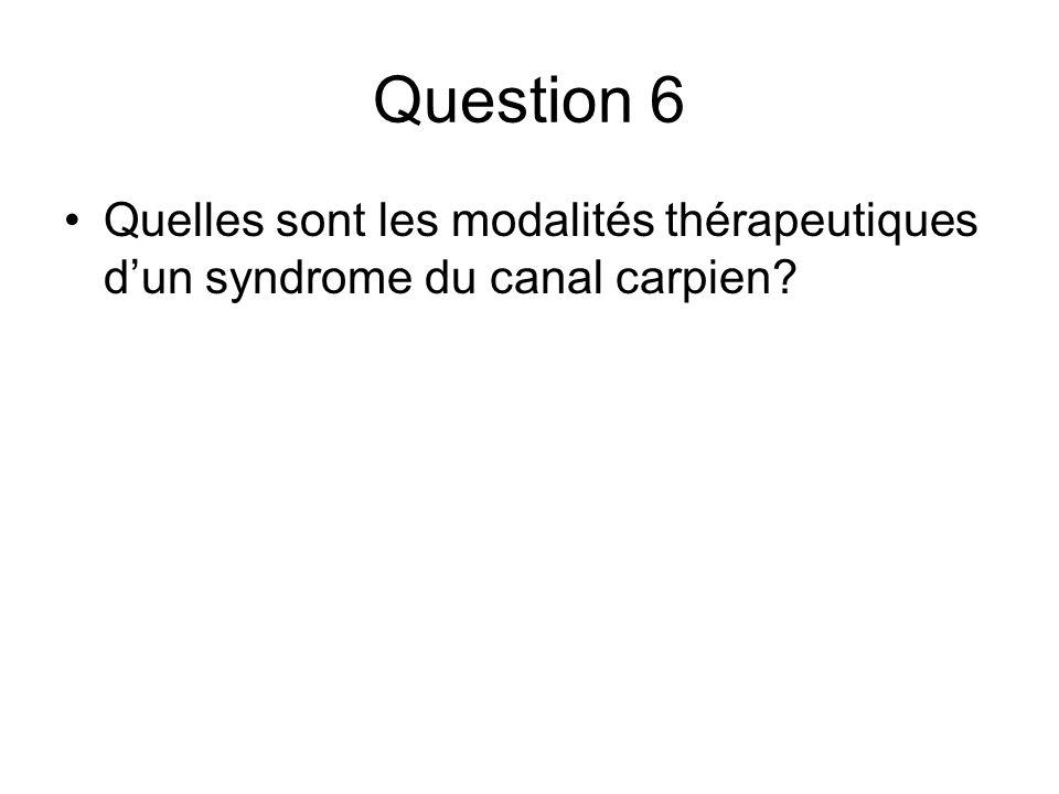 Question 6 Quelles sont les modalités thérapeutiques dun syndrome du canal carpien?