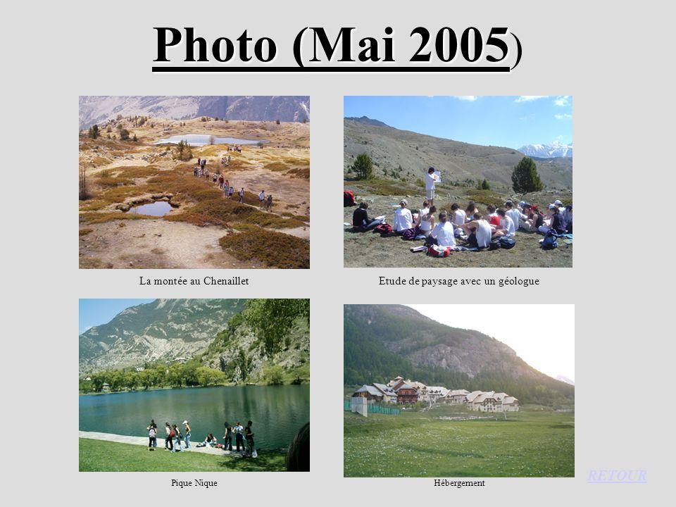 Photo (Mai 2005 Photo (Mai 2005 ) La montée au ChenailletEtude de paysage avec un géologue Pique NiqueHébergement RETOUR