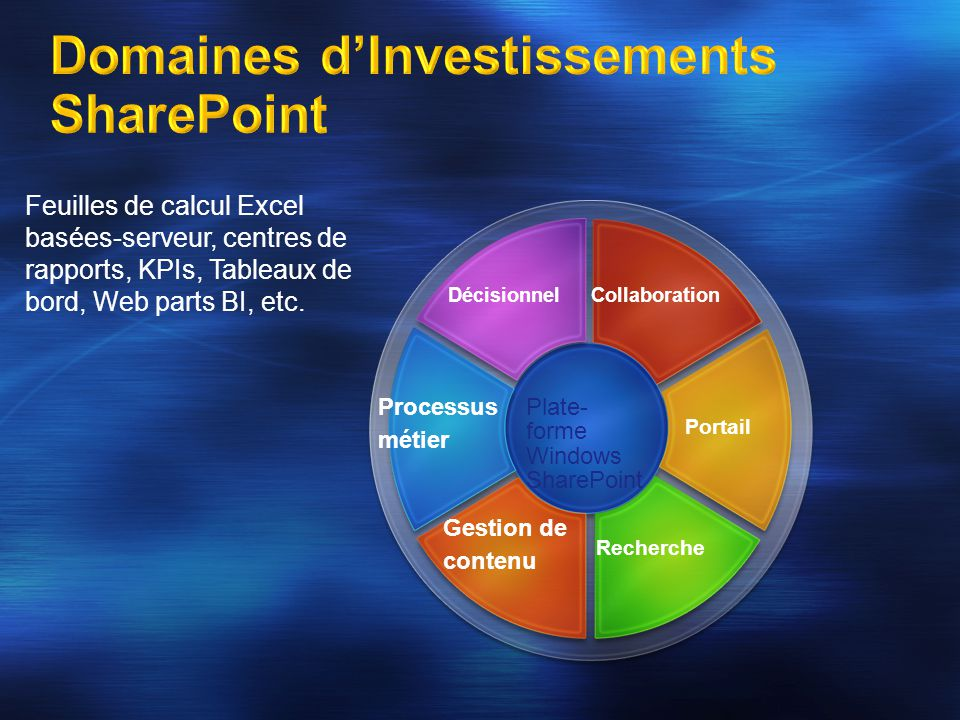 Plate- forme Windows SharePoint Gestion de contenu Recherche Processus métier Portail Collaboration Feuilles de calcul Excel basées-serveur, centres d