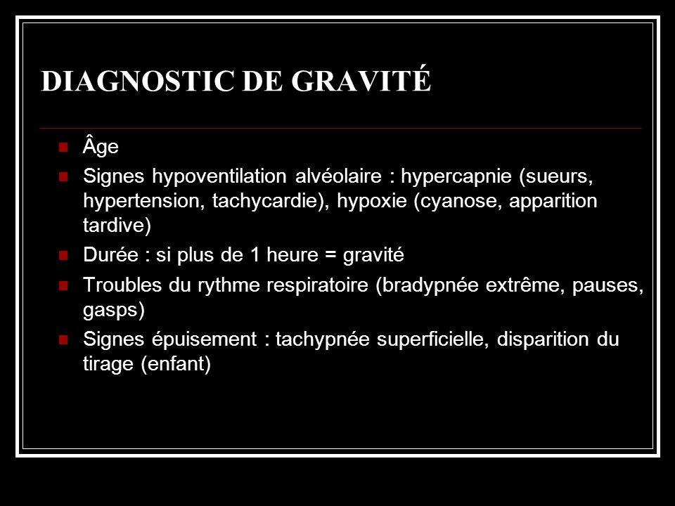 DIAGNOSTIC DE GRAVITÉ Âge Signes hypoventilation alvéolaire : hypercapnie (sueurs, hypertension, tachycardie), hypoxie (cyanose, apparition tardive) D