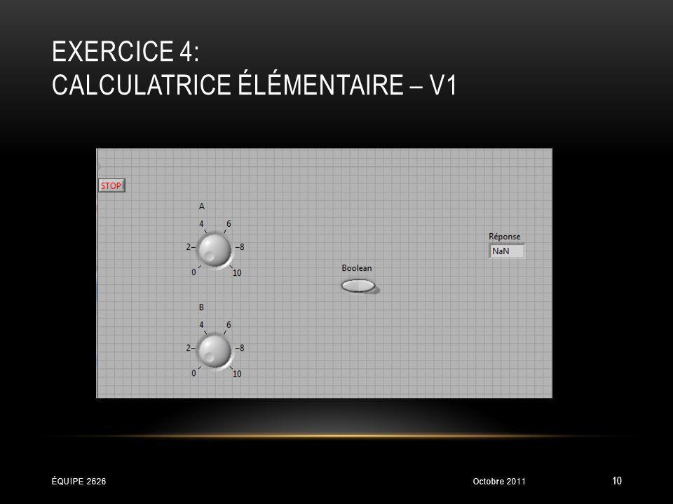 EXERCICE 4: CALCULATRICE ÉLÉMENTAIRE – V1 Octobre 2011ÉQUIPE 2626 10