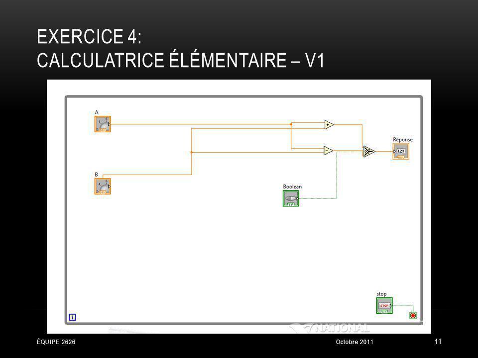 EXERCICE 4: CALCULATRICE ÉLÉMENTAIRE – V1 Octobre 2011ÉQUIPE 2626 11